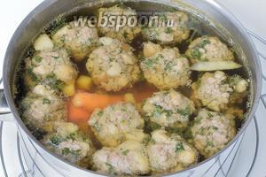 Прозрачный весенний суп с говяжьими шариками приправим по вкусу специями и сервируем. Приятного аппетита!