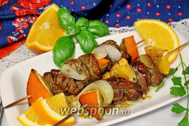 Фото Сувлаки из куриной печёнки