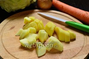 Картофель очистить и нарезать крупным кубиком, или как пожелаете.)