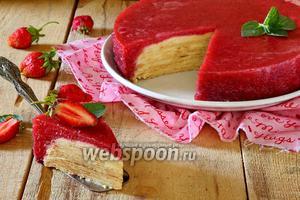 Блинный торт с клубничным желе