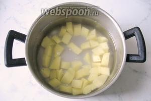 В кастрюлю налить воду, выложить картофель и поставить варить до готовности картофеля.