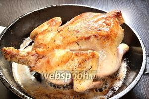 В сковороде или жаровне растопить 1/2 сливочного масла, добавить немного растительного масла и обжарить цыплёнка до румяной корочки с 2 сторон. Затем цыплёнка убираем, а масло нужно будет слить.
