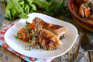 Курица в духовке с белым вином, овощами и травами