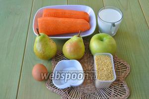 Приготовим морковь и груши для сока, а в рецепте будем использовать жмых. Ещё понадобится молоко и вода, яйцо, фруктоза, яблоко и немного растительного масла для смазывания форм. В качестве меры используем мультистакан — 180 миллилитров.