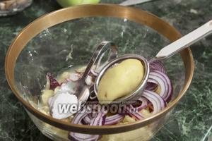 Соединим в большом салатнике филе апельсинов, кольца фиолетового лука, соль и сок 1/2 лимона, процеженный через ситечко.