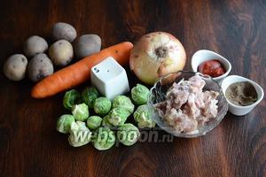 Для приготовления супа с брюссельской капустой и тушёнкой вам понадобится перец чёрный молотый, соль, томатная паста, тушёнка свиная, лук, брюссельская капуста, морковь и картофель.