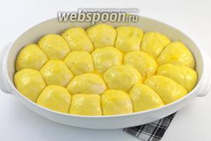 Смазать сверху желтком, разболтанным с 1 столовой ложкой воды.