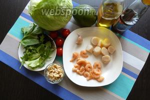 Подготовим продукты для салата. Нам понадобятся гребешки, креветки, салат Айсберг, руккола, базилик, авокадо, помидоры черри. Для заправки — рыбный соус и оливковое масло, для украшения кедровые орешки. Гребешки и креветки надо разморозить и промокнуть от влаги. Овощи и зелень помоем и обсушим.