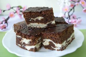 Шоколадное «Мраморное» пирожное с творогом