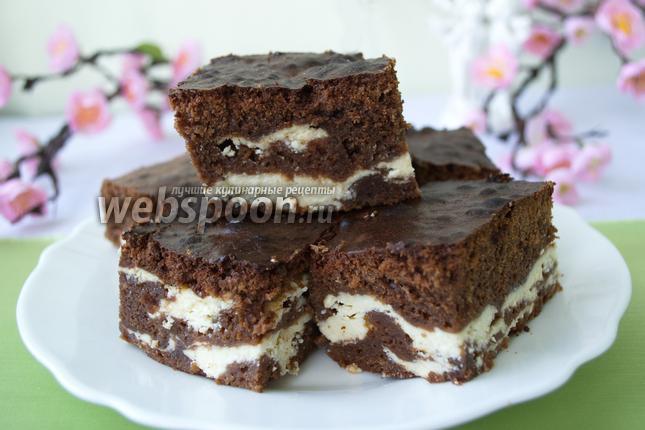 Фото Шоколадное «Мраморное» пирожное с творогом