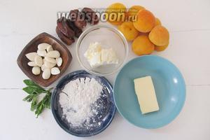 Подготовим ингредиенты для нашего десерта: финики, абрикосы, сливочное масло, орехи,  крем-фреш , сахарную пудру и мяту.