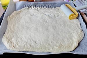 Затем раскатать тесто прямо на пергаменте, в пласт.