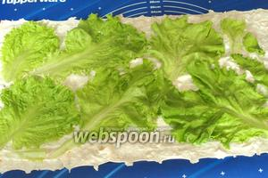 Расстелить на столе лист лаваша. Я для этого использую подложку для теста. Смазать лаваш 1/2 сливочного или плавленого сыра. Сверху выложить листья салата, которые следует промыть и обсушить.