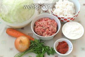 Для приготовления голубцов нам понадобится вилок белокочанной капусты, мясной фарш (у меня свино-говяжий), рис, морковь, лук, сметана, томатная паста, соль, перец и свежая петрушка для подачи. Рис следует заранее сварить в подсоленной воде почти до готовности. Также нужно подготовить капусту, опустив её в кипяток на 4-5 минут. Рис и капусту нужно остудить.