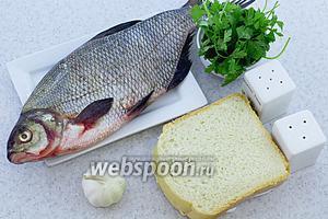 Для приготовления возьмите следующие продукты: леща свежего, хлеб белый, соль, перец чёрный молотый, чеснок, петрушку свежую, масло подсолнечное.