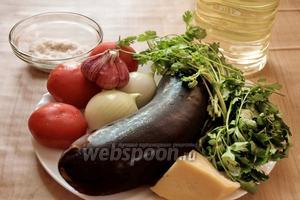 Для приготовления понадобятся баклажаны, помидоры, лук, чеснок, тёртый сыр, соль по вкусу, растительное масло и зелень для украшения (я взяла в этот раз петрушку и кинзу, а вы можете выбрать на своё усмотрение).