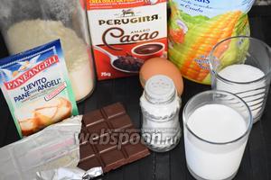 Для приготовления маффинов нам понадобится мука, сахар, какао порошок, шоколад, разрыхлитель, молоко, соль, кукурузное масло и мультиварка.