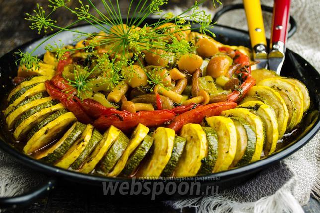 Фото Рататуй из цукини с грибами и стручковой фасолью