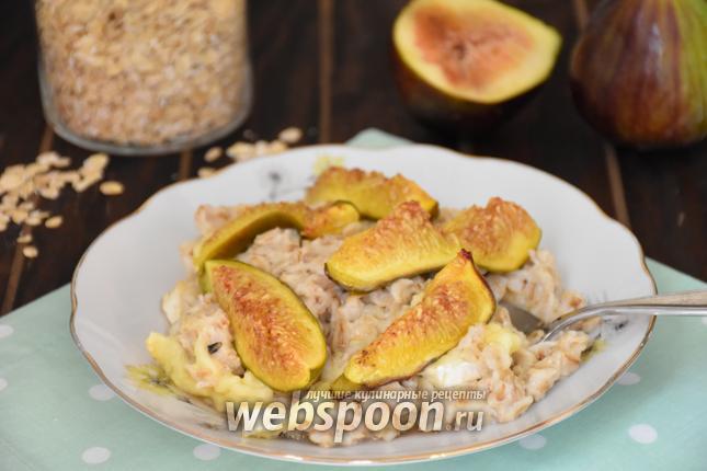 Фото Овсяная каша с сыром и инжиром