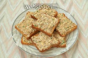 Намазать хлеб подготовленной массой и можно сразу подавать к столу. Приятного аппетита!