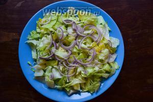 На большое блюдо выложим нарезанный салат айсберг, сверху положим красный лук. На этом этапе чуть посолим и поперчим.