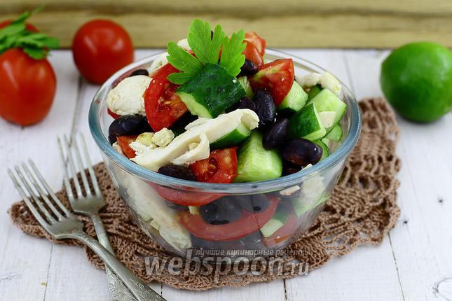 Фото Салат с чёрной фасолью и помидором