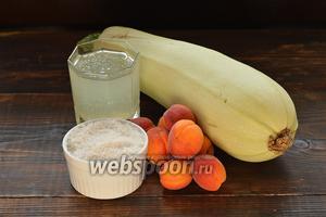 Для работы нам понадобятся абрикосы, кабачок, ананасовый сок, сахар.
