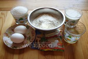 Подготавливаем все ингредиенты: ваниль, йогурт, кокосовую стружку, масло, муку, сахар, разрыхлитель, яйца.
