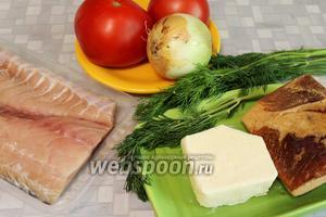 Для запекания приготовить филе сазана, помидор, лук, масло, шпик.