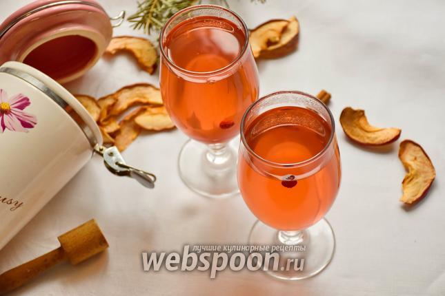 Фото Компот из сушёных яблок и клюквы