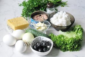 Для приготовления салата «Обезьяна» потребуются такие продукты: консервы сардины в масле или в собственном соку, яйца, огурцы свежие, лук репчатый, рис, петрушка, майонез, маслины без косточек, сыр твёрдый, соль, перец чёрный молотый и салат зелёный.
