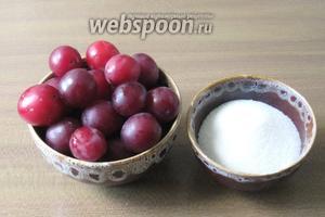Для приготовления варенья из красной алычи потребуется алыча и сахар.