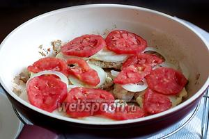Затем — колечки помидор. Можно подсолить и еще поперчить, тут всё на любителя.