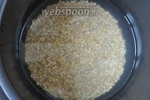 Перловую крупу промыть и залить в пропорции 1:2 водой. Поместить в чашу мультиварки и готовить в режиме «крупа» 50 минут.