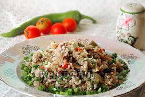 Плов вегетарианский с грибами в мультиварке