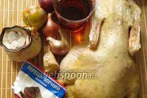 Ингредиенты: утка, пиво, мелкий лук, имбирь, сливы, сахар (если сливы очень сладкие, факультативно), соль, перец.