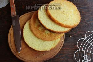 Бисквит разрезать на 4 коржа.