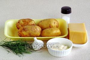 Для приготовления блюда нужно взять крупный картофель, чеснок, майонез, твёрдый сыр, зелень укропа и соль.