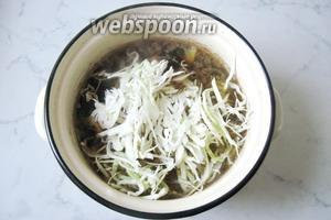 Добавляем нарезанную капусту в кастрюлю. Кладём лавровый лист, соль и перец по вкусу.