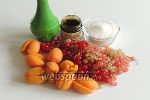 Подготовим ингредиенты: смородина красная (розовая, белая), желирующий сахар и обычный сахар, абрикосы, ванильная паста, лаймовый сок.