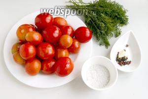 Подготовьте помидоры, ботву моркови, соль, сахар, уксус, пряности, чеснок.