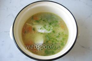 В готовый суп выложить отварную зубатку и зелень петрушки или укропа. Подаём кулеш на обед.