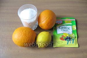 Для приготовления конфитюра из апельсинов потребуются такие продукты: апельсины, лимон, сахар и желфикс.