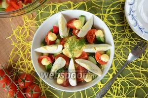 Овощной салат с сырным соусом