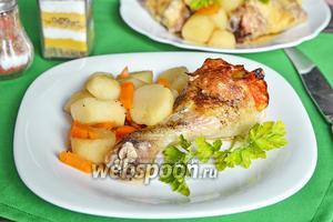 Куриная голень, запечённая с кунжутом, сыром и грейпфрутом