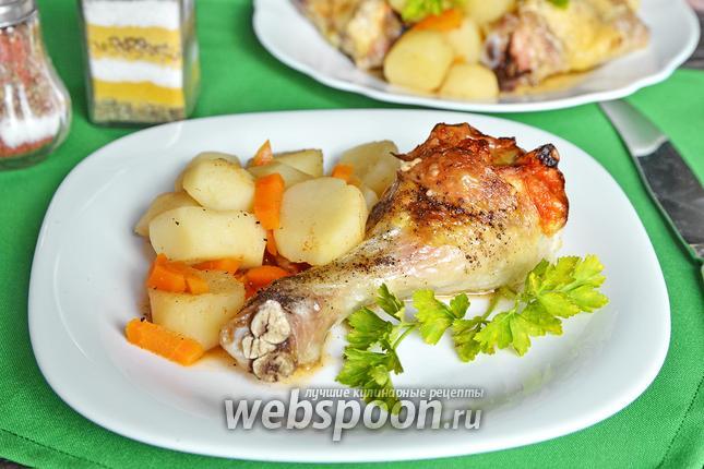 Фото Куриная голень, запечённая с кунжутом, сыром и грейпфрутом