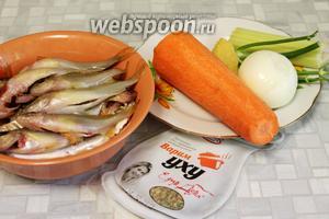 Для ухи взять ершей, картофель, лук, морковь, сельдерей, укроп, пшено, соль, имбирь.