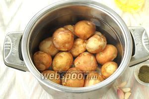 Картофель тщательно вымыть, сложить в кастрюлю и залить холодной водой. Варить картофель до готовности, главное, не переварить. В конце посолить.