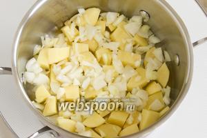 Картофель следует почистить и нарезать небольшими кусочками, лук также почистите и мелко нарежьте. Поместите продукты в кастрюлю.