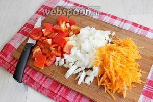 Порежем лук, парику и натрём морковь.